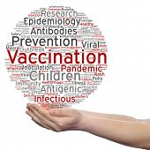 Concept or conceptual children vaccination or viral prevention circle word cloud in hand isolated on background metaphor to infectious antigenic, antibodies, epidemiology immunization or inoculation poster