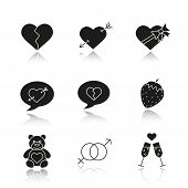 Valentine's Day drop shadow black icons set. Heartbreak, love messages, sex and erotic symbols, champagne, teddy bear, arrow piercing heart, candy box. Isolated vector illustrations poster