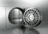 3d rendering of an open bank vault poster