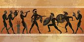 Ancient Greece scene. Black figure pottery. Ancient Greek mythology. Ancient warriors Sparta people gods. Classical style poster