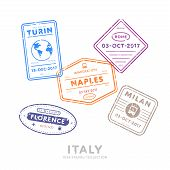Italy travel visa stamps vector isolated on white background. Arrivals sign rubber stamps. Turin, Rome, Naples, Milan, Florence cities sign. Visa stamps collection. Realistic visa stamps with different place. poster