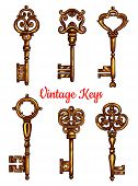 Vintage key isolated sketch set. Antique golden door key and skeleton, decorated by victorian flourishes and ornaments. Tattoo, jewelry and embellishment design poster