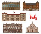 Italian tourist sights linear icon set with Royal Palace of Milan, Castle of Valentino, Roman Catholic Turin Cathedral, Palazzo Madama and Opera House La Scala. Travel, world heritage of Italy design poster