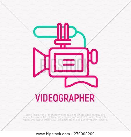 Video Camera Thin Line Icon. Modern Vector Illustration For Videographer Logo.