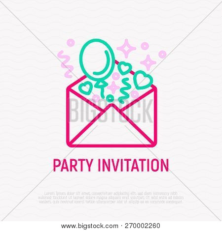 Party Invitation: Envelope With Balloons And Hearts Thin Line Icon. Modern Vector Illustration.