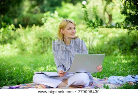Business Lady Freelance Work Outdoors. Become Successful Freelancer. Woman With Laptop Sit On Rug Gr