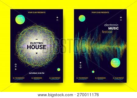 Electronic Sound Poster. Techno Music Festival Promotion. Vector Wave Amplitude Design. Wave Poster