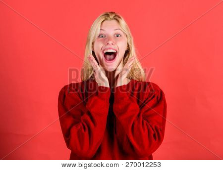 Surprised Woman Cant Believe Her Eyes. Christmas Is Coming Soon. Lack Of Time. Surprised Face Blonde