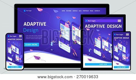 Template Landing Page Isometric Concept Of Web Design And Development Of Mobile Websites, Adaptive D