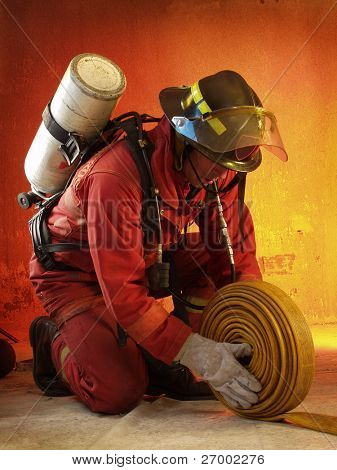 Firefighter in action.