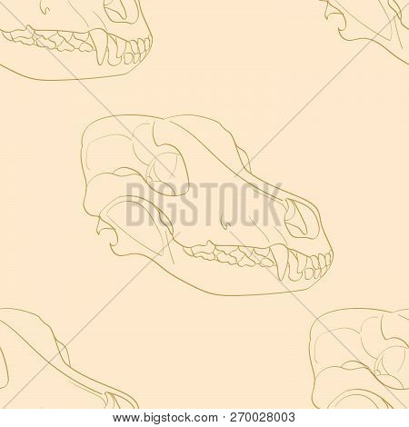 Object On White Background Skull Dog Sideways. Seamless Retro Background, Vintage, Orange, Yellow