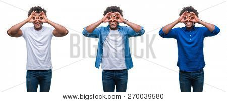 Collage of african american young shirtless man and business man over isolated background doing ok gesture like binoculars sticking tongue out, eyes looking through fingers. Crazy expression.