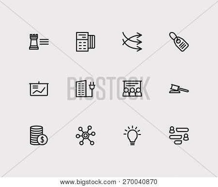 Commerce Icons Set. Business Marketing And Commerce Icons With Social Media, Price Tag And Business