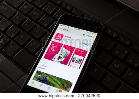 Prague, Czech Republic - November 21 2018: Airbnb Company Logo On Mobile App Phone Screen Lying On N