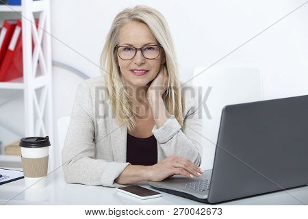 Her Job Is Her Life. Business Woman With Glasses Working In Office With Documents. Beautiful Middle