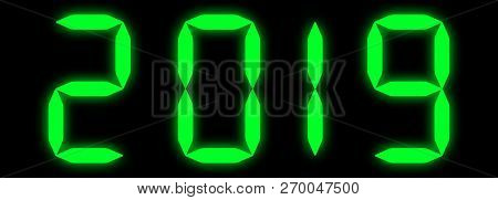 New Year Green Led 2019 In Text Digits
