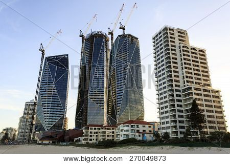 Gold Coast, Australia - November 13, 2018:  The Luxurious Jewel Tower Complex Under Construction In
