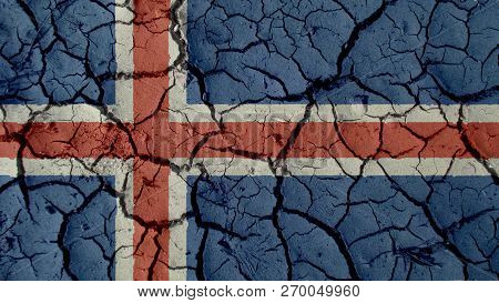 Political Crisis Or Environmental Concept: Mud Cracks With Iceland Flag poster