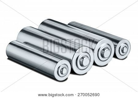 Aa Size Batteries On White Isolated Background. Concept Of Renewable Energy And Sources Of Electrica