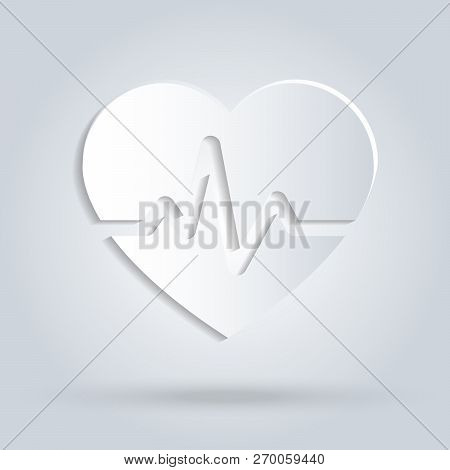 Paper Heart With Beat Monitor Pulse Line Art Icon For Medical Apps And Websites. Breathing And Alive