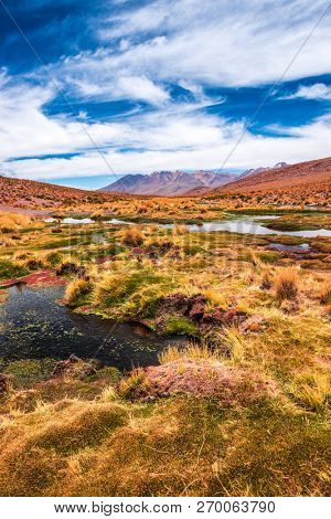 Breathtaking mountanious lagoon landscape of Bolivia