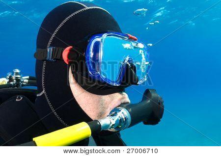 Scuba diver portrait with copy space for your text.