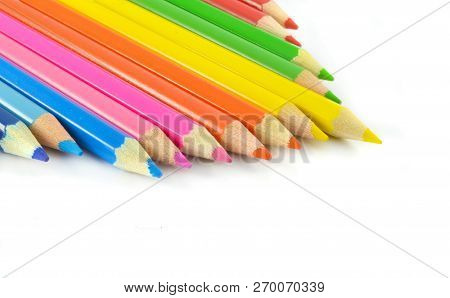 Crayons Isolated / Color Pencils Or Wood Crayons Isolated On White Background - Colorful Colored Pen