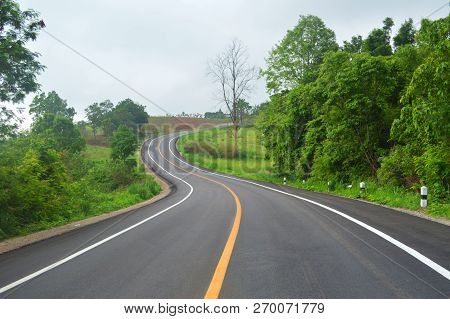 Curve Road Driving / Asphalt Of Road For Car Travel Transportation On Mountain - Countryside Road Cu