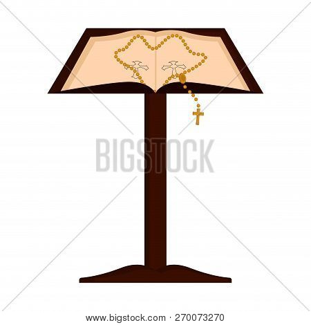 Isolated Lectern With Open Bible And Rosary. Vector Illustratin Design