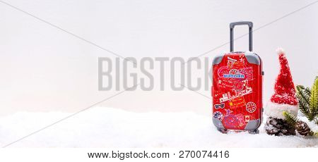 Travel And Vacation On Winter Season With Snow. Travel Suitcase For Holiday.