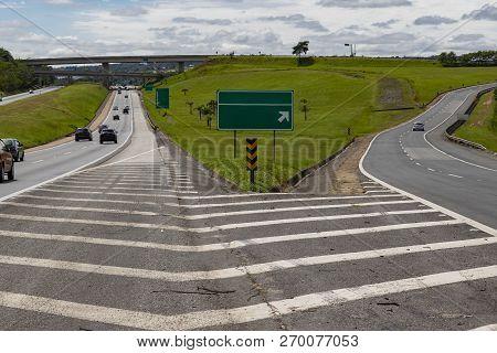 Bifurcation Between Two Roads. Double Split. Bifurcated Two-ways. Choice Between Two Different Ways