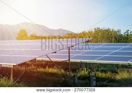 solar panels alternative energy with copy space ,Natural energy and energy conservation concept.