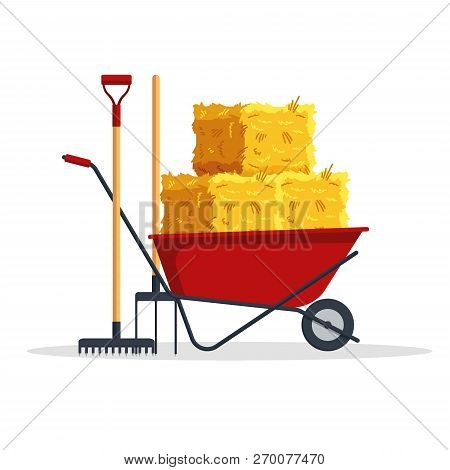 Red Flat Gardening Wheelbarrow With Bale Of Hay, Pitchfork, Rake Isolated On White Background. Flat