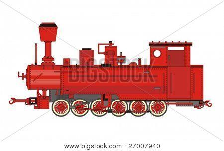 Red locomotive engine