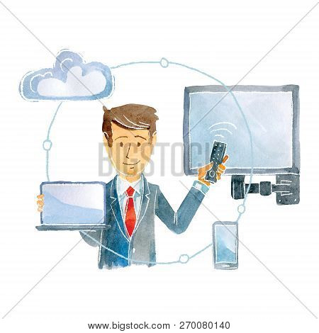 The Representative Of The Provider Company Represents The Possibilities Of The Service.