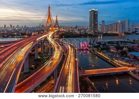 The Bhumibol Bridge (industrial Ring Road Bridge) (bangkok, Thailand) Beautiful View At Twilight, Ba
