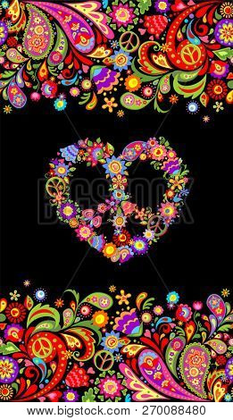 Fashion print with colorful floral summery seamless border and hippie peace flowers symbol for shirt design and party poster on black background