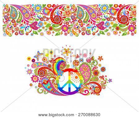 Shirt print with hippie peace symbol with vintage colorful flowers pattern, seamless border and rainbow