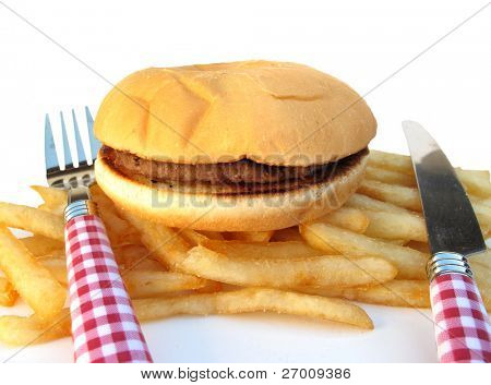Hamburger burger and french fries potatoes poster