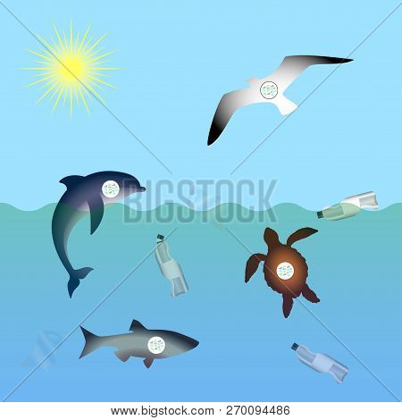 Animals Affected By Microplastic Water Contamination. Stop Plastic Pollution. Rumpled Plastic Dishes