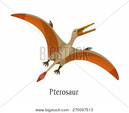 Ancient Prehistoric Animal Dinosaur. Big Wild Air Dinosaur Pterosaur.