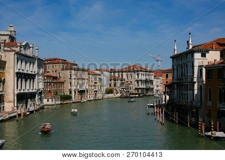 Venice, Grand Canal, From The Accademia Bridge Towards Rialto