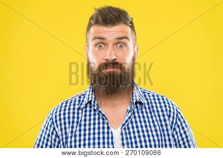 Fashion Man With Beard. Bearded Man. Brutal Caucasian Hipster With Moustache. Surprised Man On Yello