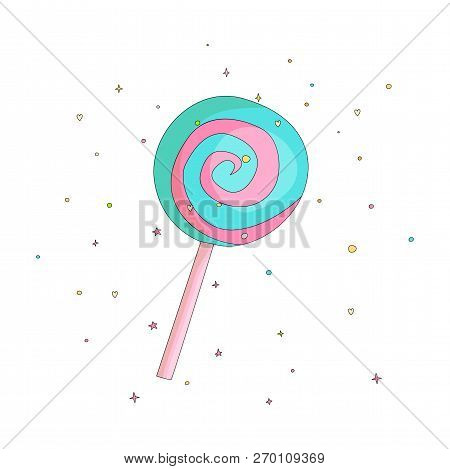 Blue And Pink Lollipop Fun Cartoon Vector Icon. Sweet Lollypop Cartooning Illustration With Decorati
