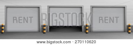 Vector Exterior Concept Background With Garage Boxes For Rent, Storage Rooms For Car Parking. Wareho