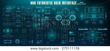 Sci-fi Futuristic Hud Dashboard Display Virtual Reality Technology Screen. Hud Futuristic Blue User