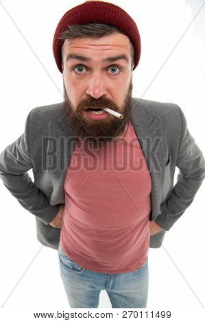 Brutal Unshaven Guy Smoking Isolated White Background. Brutal Habits And Lifestyle. Hipster Brutal B