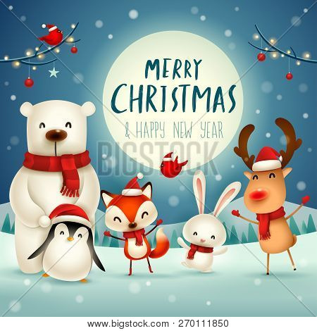 Merry Christmas And Happy New Year! Christmas Cute Animals Character. Happy Christmas Companions. Po