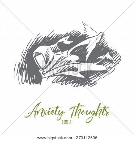 Anxiety Thoughts, Hijab, Idea, Islam Concept. Hand Drawn Woman In Hijab Has Anexiety Thoughts. Birds