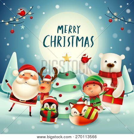 Merry Christmas! Happy Christmas Companions In The Moonlight. Santa Claus, Reindeer, Elf, Polar Bear